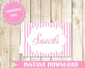 Pink White Stripes Wedding Place Card - Pink Buffet Label Printable Food Label Party Label Seating Card Buffet Food Label INSTANT DOWNLOAD