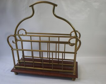 Vintage Brass and Wood Magazine Rack