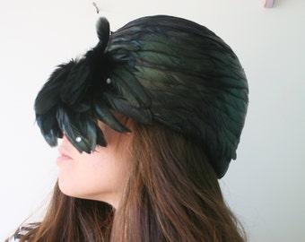 Vintage Mid Century Hat...feathered hat. church. wedding. bride. costume. 1950s hat. 1960s hat. fur hat. audrey hepburn. mod. flapper hat