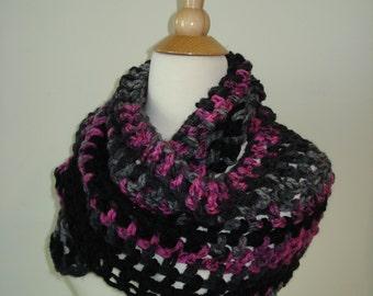Funky/ Small/ Teen/ Handmade Crochet Cowl/Scarf Pink/Black/Gray Mix