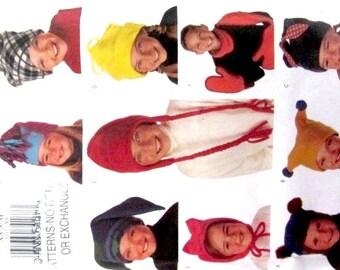 Hat and mitten pattern, uncut, jester hat pattern, cat ear pattern, hat with pom pom, balaclava pattern, boy hat pattern, girls hat pattern,