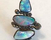 SUPER SALE Multi Fire opal sterling silver ring ooak
