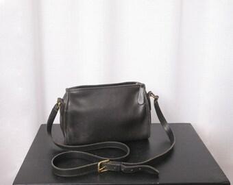 Vintage Coach Black Leather Crossbody Purse, Shoulder Bag