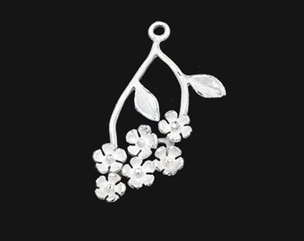 1 of 925 Sterling Silver flower leaf tree branch Pendant  12x25mm.  Matte Finished   :th2549