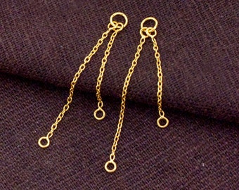 1 Pair of 925 Sterling Silver 24k Gold Vermeil Style Dangling Chain Connectors.  :vm0937