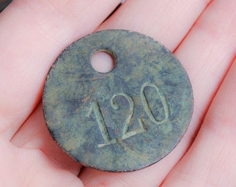 Antique small brass tag plate, number 120, connector, label, pendant, charm, primitive finding