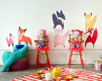 GINGIBER FRIENDLY FOXES Eco-Friendly Reusable Fabric Wall Decals by Pop & Lolli