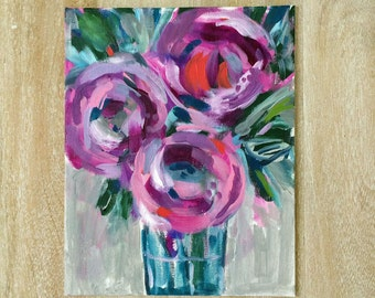 Small original floral painting // 8x10 original painting // flowers in a vase // art // Peppercorn Elvis