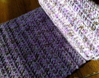 Sparkly purple scarf and matching headband with removable flower pin
