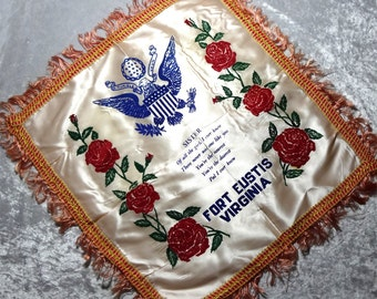 Fort Eustis Virginia Fringed Pillow Cover Sham for Sister, Felt Roses, WWII Army Military Souvenir c1940s, FREE SHIPPING