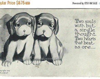 20% OFF Two Souls Two Hearts Puppy Dogs Postcard, Artist Signed F.J. Bilek, Antique Victorian Ephemera c1909, Free Shipping