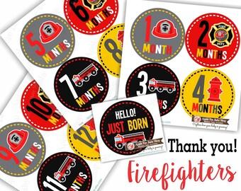 Baby Month Stickers, PLUS Just Born Sticker, Baby Boy Milestones, Month Stickers, Bodysuit Sticker, Black Red Grey Fireman Firetruck 164B