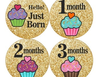 1st Year Baby Month Stickers, PLUS Just Born Sticker, Baby Monthly Stickers, Baby Girl Bodysuit stickers, Black Gold Glitter Cupcakes 028G