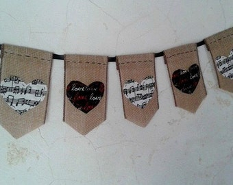 Hearts Banner ... all hand-stitched. Hearts made of Music notes and black fabric with love on it for this fun banner.