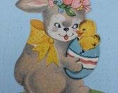Vintage Cardboard Die Cut Bunny, Easter, Flocked, A-Meri-Card