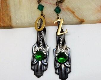 Wizard of Oz Earrings, Oz Earrings, Oz Jewelry, Emerald City Oz