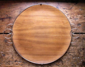 Vintage Round Midcentury Wood and Silver Serving Tray - Great Boho Chic Statement Piece