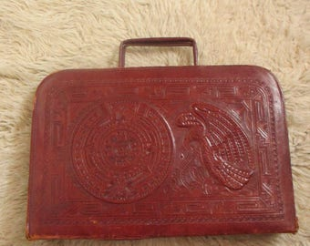 1950's Mexican Leather Tooled Briefcase Mayan Calendar purse