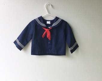 1980s Vintage Baby SAILOR Top // 12 months