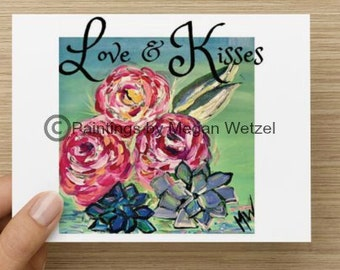 Love & Kisses Horizontal  5.5x4 Folded Blank Cards