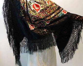 ON SALE Vintage large black satin Chinese piano shawl, Canton Manton De Manila with multicolour embroidery flowers