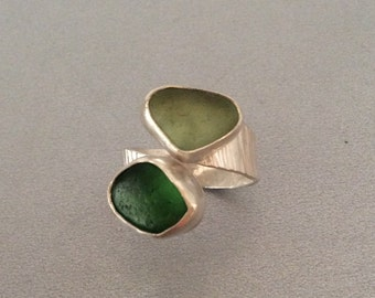 Green English Seaglass and Sterling Silver Ring