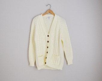 Pre-Christmas SALE - Vintage 70s Ivory Acrylic Cardigan Sweater Oversized Boyfriend Cardigan Button Down // womens medium large
