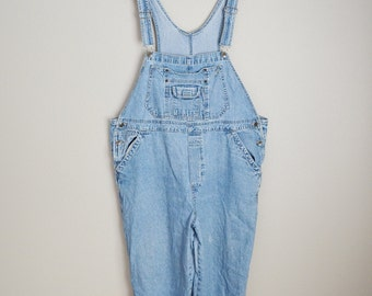 vintage 90s light wash xlarge womens overalls dungarees-- distressed