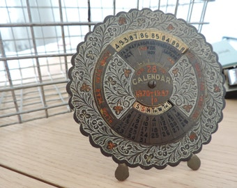 Vintage Perpetual Calendar Antique Metal Calendar Desk callendar Ornate Metal Desk Calendar