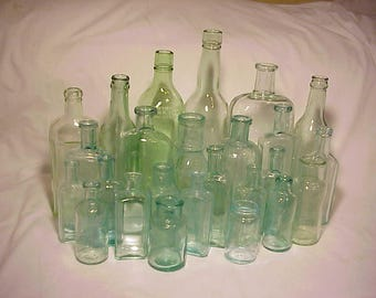 c1870-1940 Group of 25 Cork Top Mixed Aqua Glass Medicine, Food and Beverage Bottles Great for Wedding Decor Lot No. 2