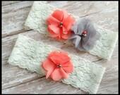 Chiffon Gray Coral Flower White Lace Pearl Bridal Vintage Wedding Garter Or Garter Set