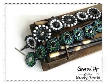 Beading Pattern Circular Brick Stitch 4mm Square Beads Gears Bracelet Beading Instructions DIY Beaded Jewelry Tutorial PDF Download GEAREDUP