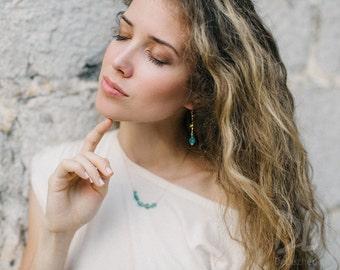 Raw Apatite Earrings - Rough Stone Dangle Earrings - Long Drop Earrings - Bamboo Branch Earrings - Boho Chic Jewelry - Raw Crystal Earrings