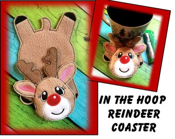 In The Hoop Flat Reindeer Coaster Embroidery Machine Design