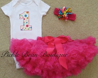 Ready To Ship, Hot Pink Polka Dot, Baby Girl 1st Birthday Outfit, Bodysuit Pettiskirt, Baby Tutu, Girls First Birthday Outfits