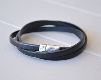 Leather Wrap Bracelet, Black Bracelet, Leather Wristlet Strap, Multiple Strand Wrap Bracelet