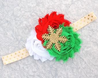 Baby Christmas headband - Gold Christmas headband - Christmas headbands - Newborn Christmas headband - First Christmas headband