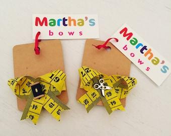 Sewing hair clips | measuring tape hair bows