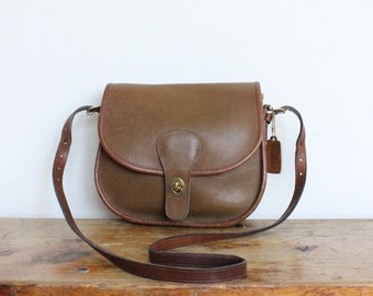 Vintage Coach Bag // Coach Saddle Bag NYC Tabac Tan // Coach Saddlery Crossbody Purse Hangbag