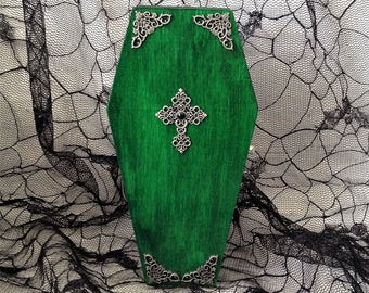 Green with Silver Filigree Cross Goth Coffin