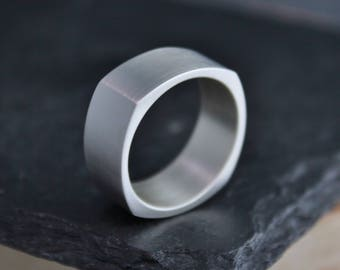 Sterling Silver Square Band 8mm Wide Ring, Ready to Ship