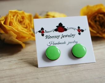 Green Stud Earrings, Green Post Earrings, Wood Earrings, Wooden Earrings, Green Wood Earrings, Light Green Earrings, Green Jewelry, For Her