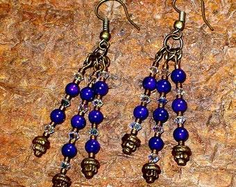 Purple & Brass Earrings, Steampunk Dangle Earrings, Hand Made