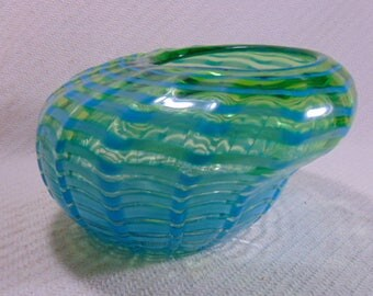 Vintage Modern Collectible Decorative Italian Murano Art Glass Centerpiece Sea Form Bowl