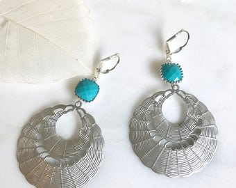 SALE - Silver and Turquoise Chandelier Earrings .  Dangle Earrings.  Statement Earrings. Jewelry Gift. Modern Fashion Drop Earrings.