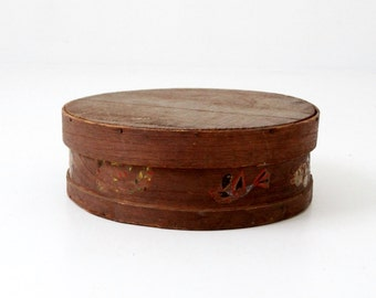 antique wood cheese box, folk art band box