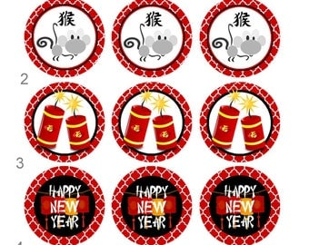 Chinese New Year Firecracker Dragon Pinback Flatback Button Badge Magnets Party Favors or Crafting 1 inch set of 10