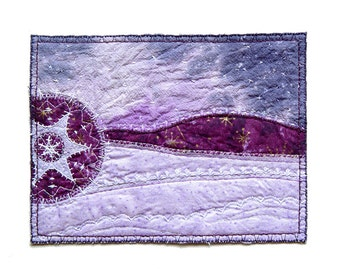 Winter landscape in purple textile art