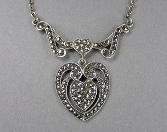 Marcasite Heart Necklace, Sterling Silver, Double Heart, Wings, Art Nouveau, Boho, Vintage Necklace