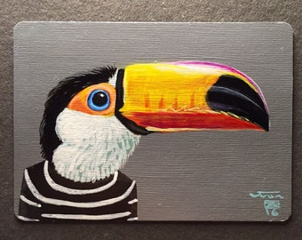 Toucan Portrait on a playing cards. 2016